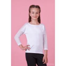 Блузка белого цвета с рукавом 3/4 со спущенным плечом