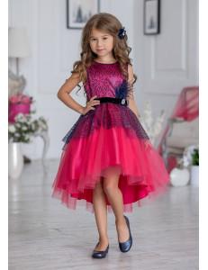 Платье нарядное коралловое с ассиметричной юбкой Гламур