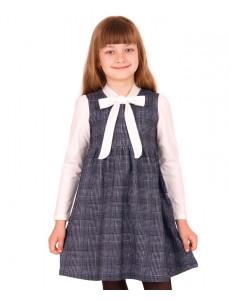Платье в черно-белую клетку с эффектом молочной блузки