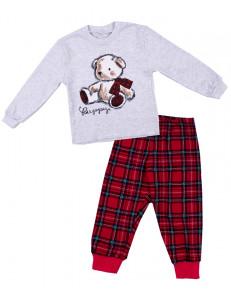 """Пижама для девочек с длинным рукавом в красную клетку """"плюшевый мишка"""""""