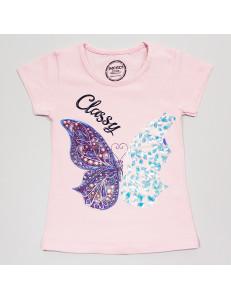 """Футболка розового цвета для девочек с пайетками """"Бабочки"""""""