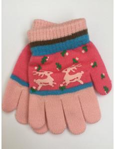 """Перчатки осенние розового цвета """"олени"""""""