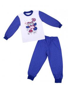 """Пижама для девочек с длинным рукавом синего цвета """"сова"""""""