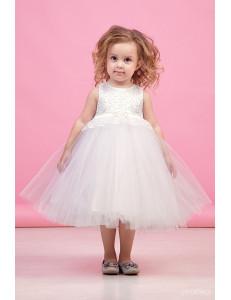 """Платье нарядное молочного цвета с многослойной юбкой и кружевом """"Тюльпан"""""""