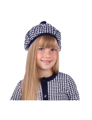 """Берет весенний синего цвета для девочек """"Гусиная лапка"""""""